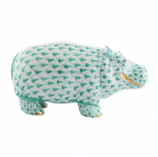 Herend Porcelain Fishnet Figurine of a Hippopotamus